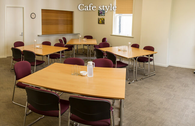 Conference room 1 set up in a cafe stlye