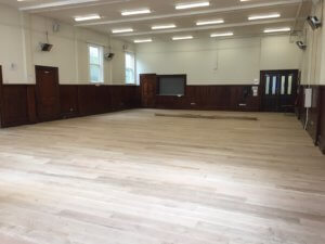 floors in the st andrews hall being re-done