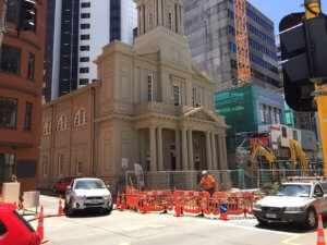 construction outside the st andrews church and center